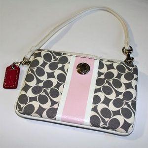 Pink/Gray/White Coach Wristlet